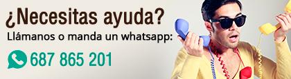 ¿Necesitas ayuda? Llámanos o manda un whatsapp al 687 865 201