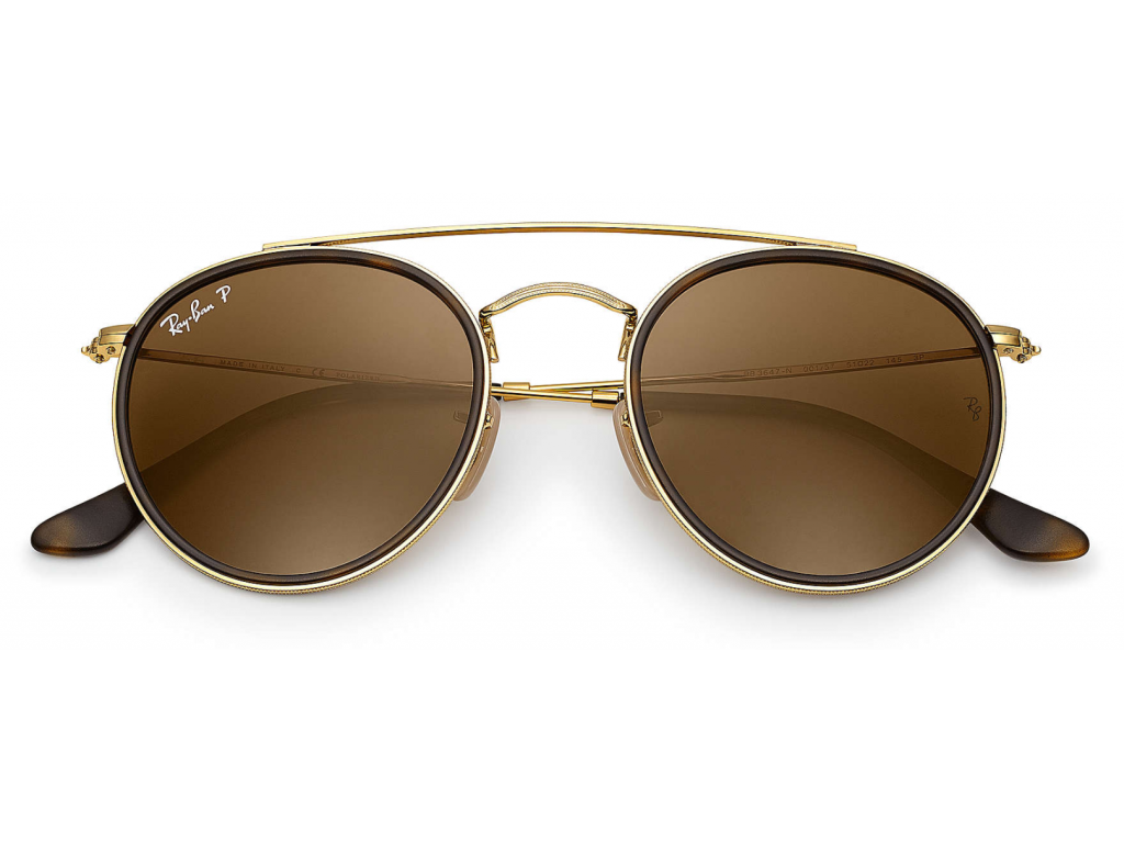 Details about RAY BAN RB3647N00157 51MM ROUND DOUBLE BRIDGEGOLDPOLARIZED BROWN LENSES